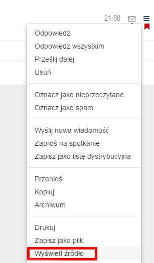 Poczta home.pl - Poczta - Skrzynka odbiorcza - Wybrana wiadomość - Wybierz opcje Wyświetl źródło