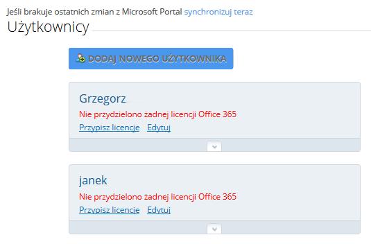 Panel Klienta - Usługa Office 365 - Zarządzaj usługą - Użytkownicy - Kliknij Dodaj nowej użytkownika
