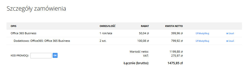 cp.market.home.pl - Sklep - Zakup dodatkowe usługi - Pakiety Office 365 - Zamów - Szczegóły zamówienia - Sprawdź podsumowanie zamówienia