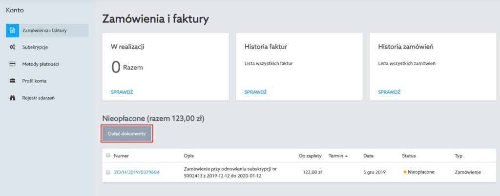panel klienta home.pl - zamówienia i faktury - nieopłacone - opłać dokumenty