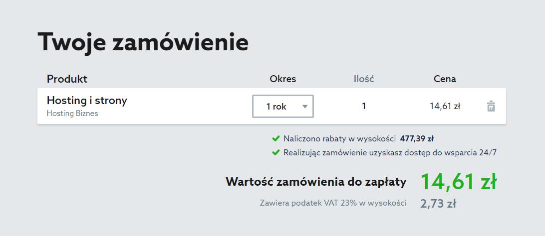 Serwis home.pl - Menu - Hosting - Oferta - Wybieram - Okres rozliczeniowy - Podsumowanie - Konto - Twoje zamówienie - Znajdź sekcje Metoda płatności