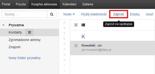 Poczta home.pl - Książka adresowa - Zaznacz te kontakty, do których chcesz wysłać wiadomość e-mail i kliknij opcję Zaproś