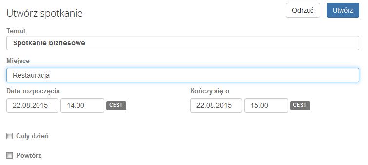Poczta home.pl - Książka adresowa - Zaproś - Uzupełnij formularz Utwórz spotkanie