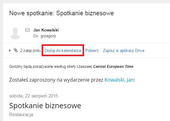 Poczta home.pl - Kalendarz - Zaproszenie na spotkanie - Dodaj wydarzenie do swojego terminarza