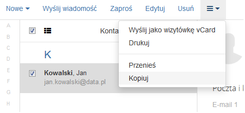 Poczta home.pl - Książka adresowa - Więcej - Wybierz opcję Kopiuj