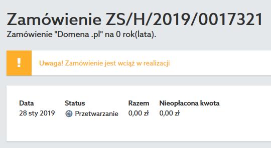 Panel klienta home.pl - Zamówienie - Przykładowy widok statusu zamówienia dopóki nie zostanie kliknięty link potwierdzający transfer