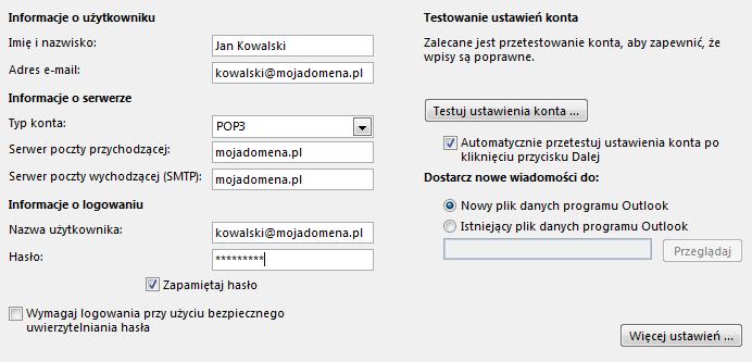 Microsoft Outlook 2013 - Plik - Informacje - Dodaj konto - Wpisz odpowiednie dane konfiguracyjne dla skrzynki e-mail