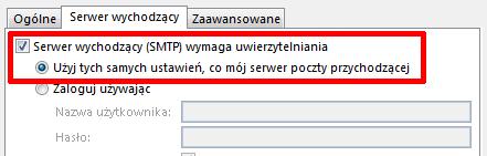Microsoft Outlook 2013 - Plik - Informacje - Dodaj konto - Więcej ustawień - Włącz opcje Serwer wychodzący (SMTP) wymaga uwierzytelniania oraz Użyj tych samych ustawień, co mój serwer poczty przychodzącej