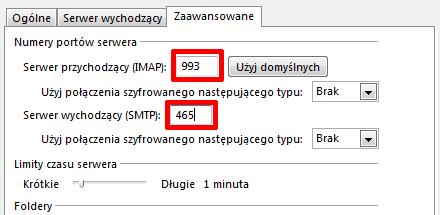 Microsoft Outlook 2013 - Plik - Informacje - Ustawienia kont - Poczta e-mail - Zmień - Wybierz odpowiednią opcję w obu polach Użyj połączenia szyfrowanego następującego typu
