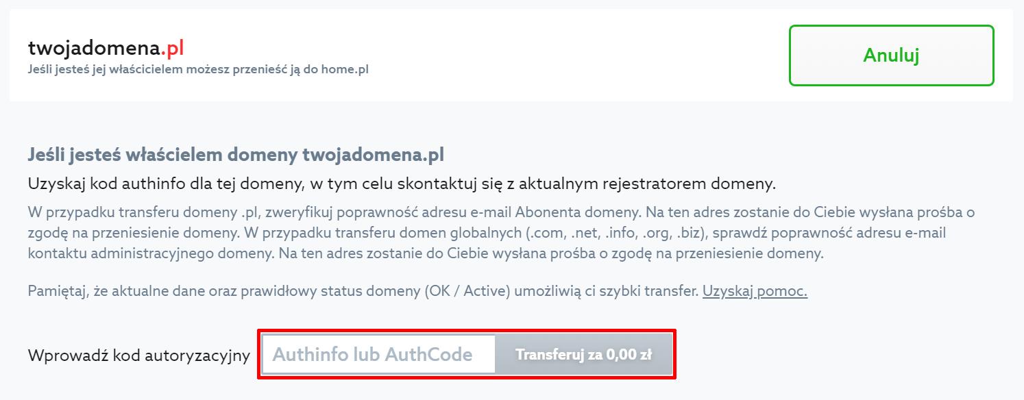 Authinfo - kod autoryzujący transfer - authcode - AI