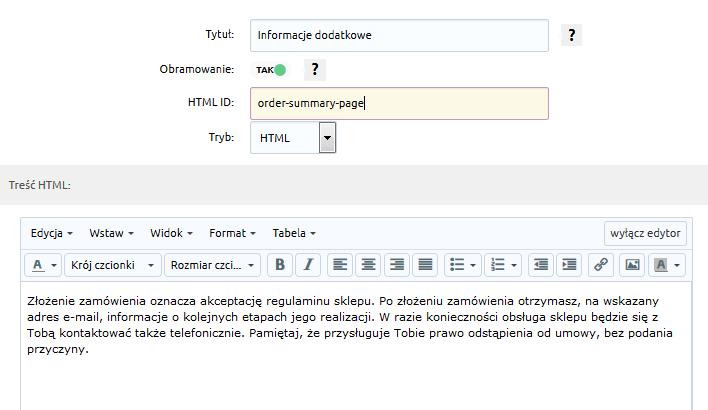 eSklep - Konfiguracja - Wygląd - Aktywny styl graficzny - Moduły - Dodaj moduł - Uzupełnij parametry modułu