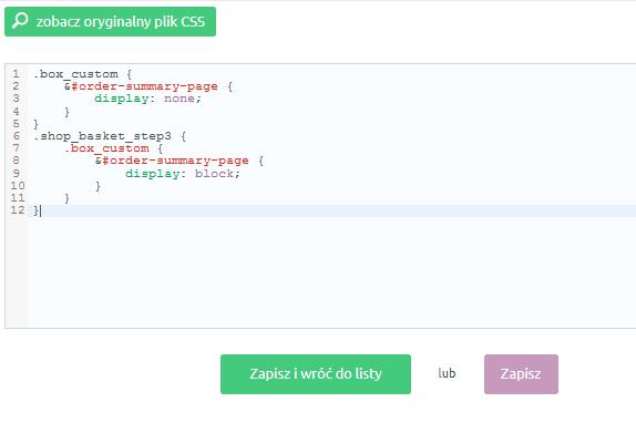 eSklep - Konfiguracja - Wygląd - Aktywny styl graficzny - Moduły - Koszyk - Własny styl CSS - Wklej skopiowany kod