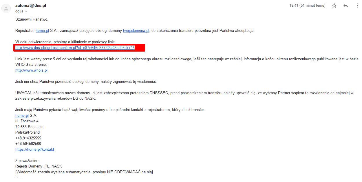 Przykładowa wiadomość e-mail zawierająca link potwierdzający transfer domeny - Kliknij w link aby potwierdzić transfer