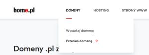 Sekcja domeny -> Transfer domeny
