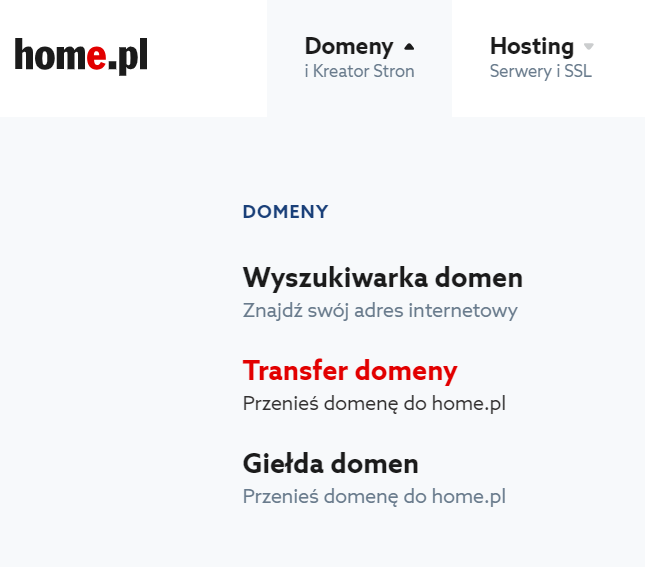 Transfer domeny do home.pl - krok 1