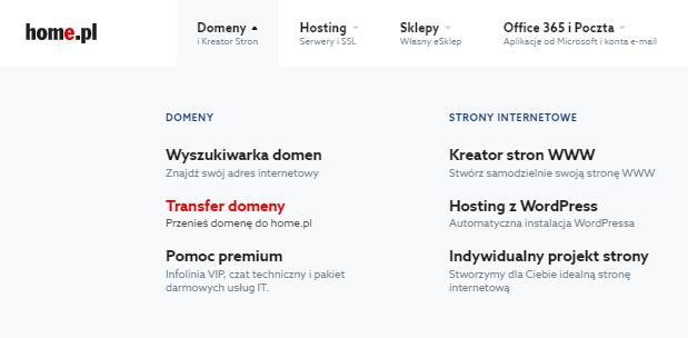 Transfer domeny na stronie głównej home.pl