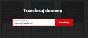 Transfer domeny - wpisz nazwę domeny.