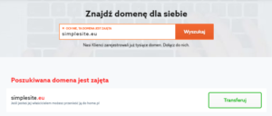 Transfer domeny do home.pl - formularz transferu