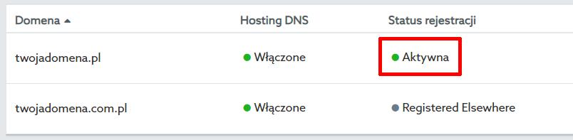Panel klienta home.pl - Domeny - Lista domen - Przykładowy widok aktywnego statusu rejestracji