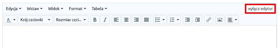 eSklep - Zawartość - Strony informacyjne - Edytor - Wyłącz edytor w prawym, górnym rogu edytora