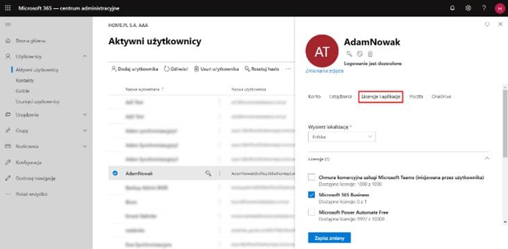 Zarządzanie licencjami istniejących użytkowników Microsoft 365 (Office 365)