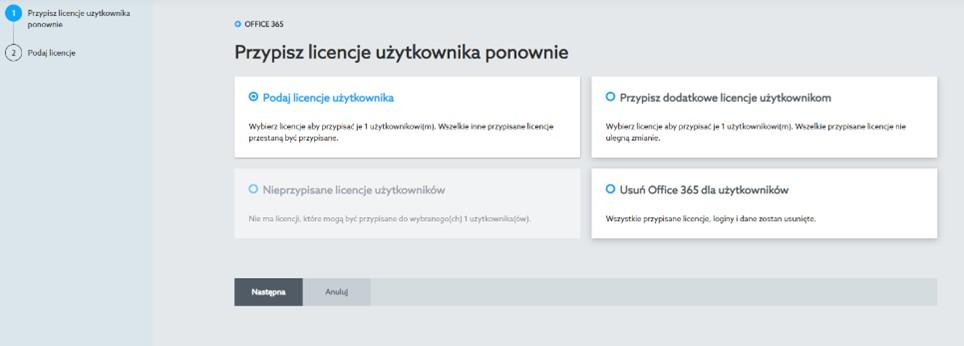 Dodawanie użytkowników i przypisywanie licencji Microsoft 365
