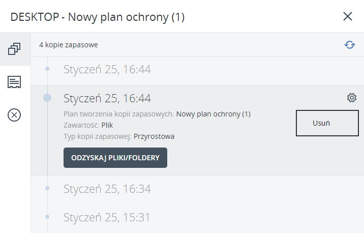 Acronis Backup - usuń kopię zapasową