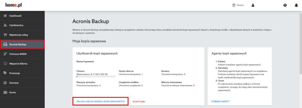 Acronis Backup – panel użytkownika