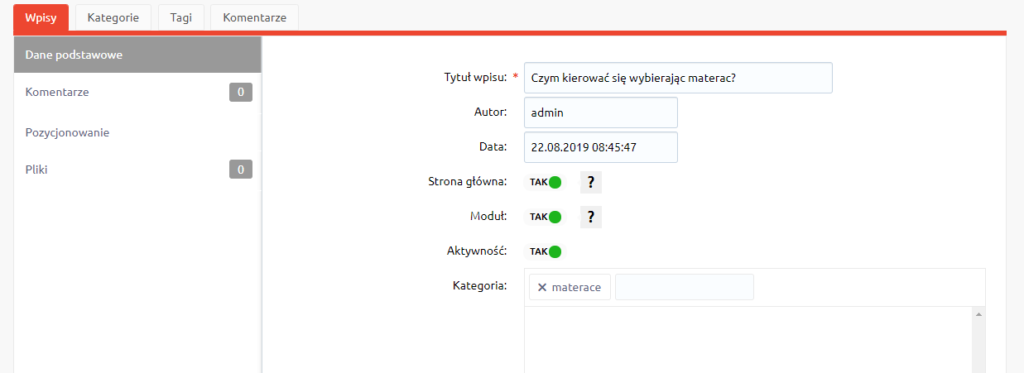 Konfiguracja wpisów na blogu eSklepu