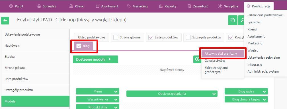 eSklep - Konfiguracja - Wygląd - Aktywny styl graficzny - Wybierz zakładkę Blog