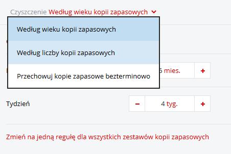 Acronis Backup - Nazwa użytkownika - Nazwa komputera - Kopia zapasowa - Dodaj plan tworzenia kopii zapasowej - Czyszczenie - Wybierz opcję z listy Według wieku kopii zapasowych