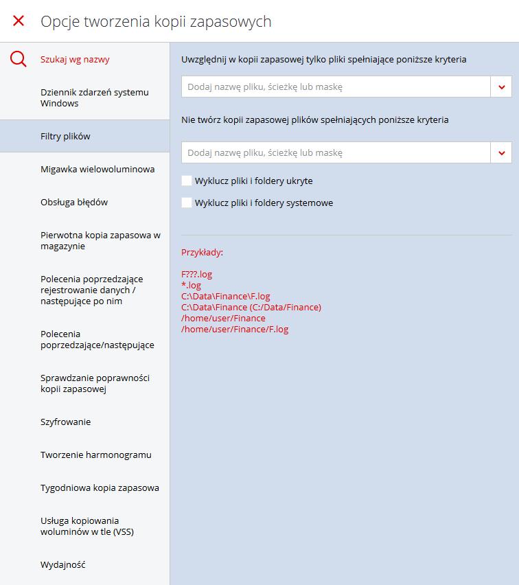 Acronis Backup - Nazwa użytkownika - Nazwa komputera - Kopia zapasowa - Dodaj plan tworzenia kopii zapasowej - Opcje tworzenia kopii zapasowych - Opcje - Dopełnij personalizację planu