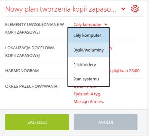 Acronis Backup - Nazwa użytkownika - Nazwa komputera - Kopia zapasowa - Dodaj plan tworzenia kopii zapasowej - Wskaż zasób, który będzie podlegał zabezpieczeniu