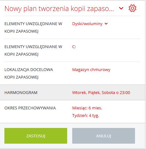 Acronis Backup - Nazwa użytkownika - Nazwa komputera - Kopia zapasowa - Dodaj plan tworzenia kopii zapasowej - Wybierz harmonogram kopii zapasowej