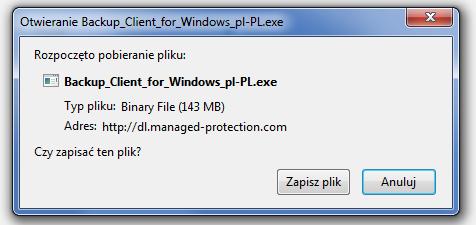 Okno rozpoczęcia pobierania pliku Backup_Client_for_Windows_pl-PL.exe - Zapisz plik