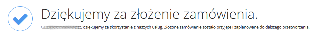 home.pl - Ochrona danych - Kopia zapasowa danych - Zamów - Subdomena - Dziękujemy za złożenie zamówienia