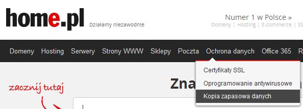 home.pl - Ochrona danych - Wybierz opcję Kopia zapasowa danych