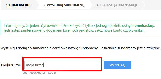 home.pl - Ochrona danych - Kopia zapasowa danych - Zamów - Wyszukaj i dodaj do zamówienia darmową nazwę subdomeny