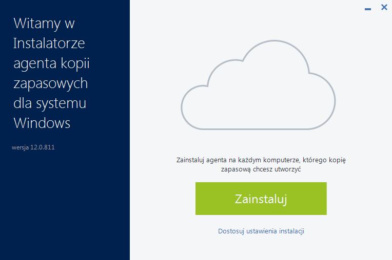Acronis Backup - Instalator agenta kopii zapasowych dla systemu Windows - Kliknij przycisk Zainstaluj