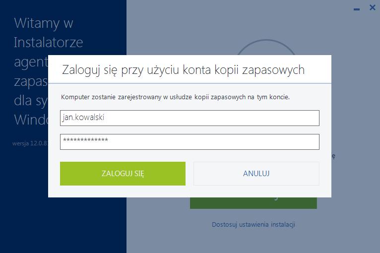 Acronis Backup - Instalator agenta kopii zapasowych dla systemu Windows - Okno logowania - Zaloguj się przy użyciu konta kopii zapasowych