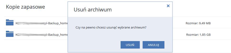 Acronis Backup - Nazwa użytkownika - Nazwa komputera - Odzyskaj - Kopie zapasowe - Usuń - Zatwierdź usunięcie wybranego zasoby klikając opcję Usuń