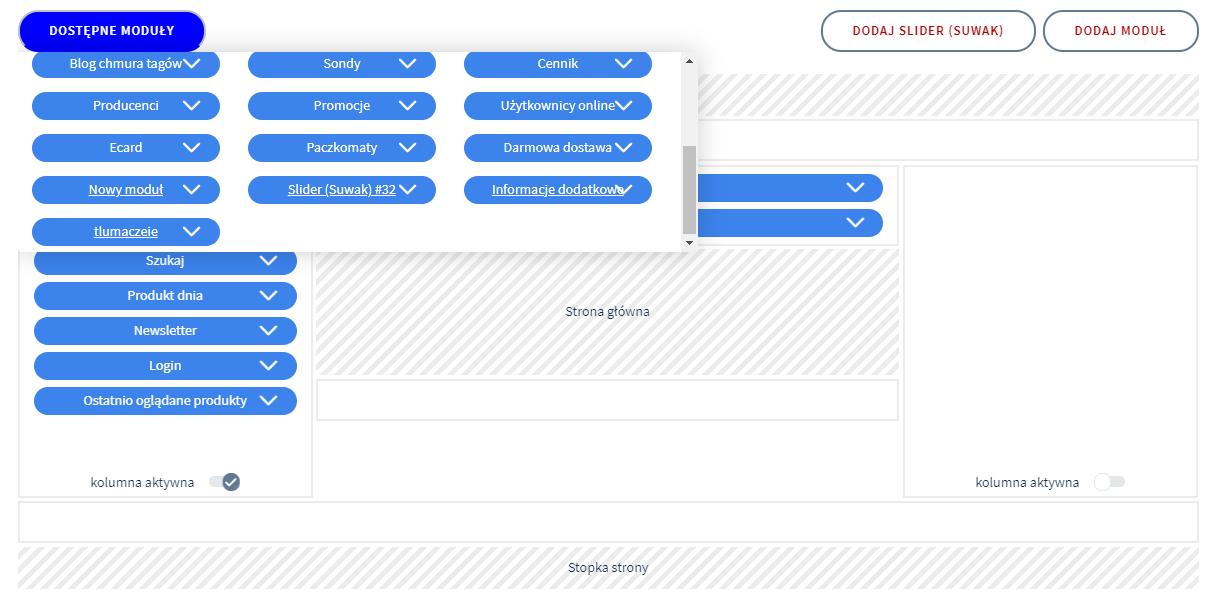 W sekcji Moduły możesz dodawać i usuwać moduły, w tym moduły odpowiedzialne za blog