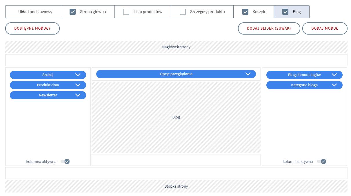 W sekcji Blog możesz zarządzać widokiem i modułami bloga sklepu internetowego