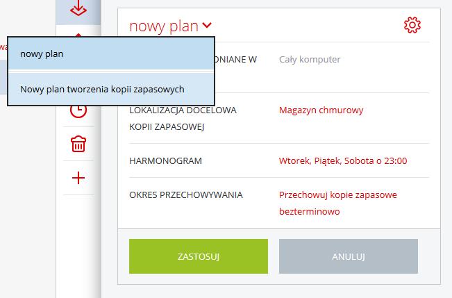 Acronis Backup - Nazwa użytkownika - Nazwa komputera - Panel Konfiguracji - Ikona koła zębatego - Odwołaj - Wybierz opcję Nowy plan