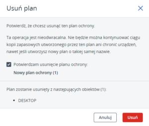 Acronis - usuń plan kopii zapasowej