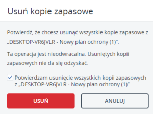 Potwierdź usunięcie kopii Acronis Backup