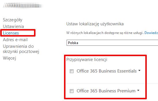 Office 365 - Użytkownicy - Aktywni użytkownicy - Wybrany użytkownik - Przypisana licencja - Edytuj - Wybierz zakładkę Licencje (Licenses)