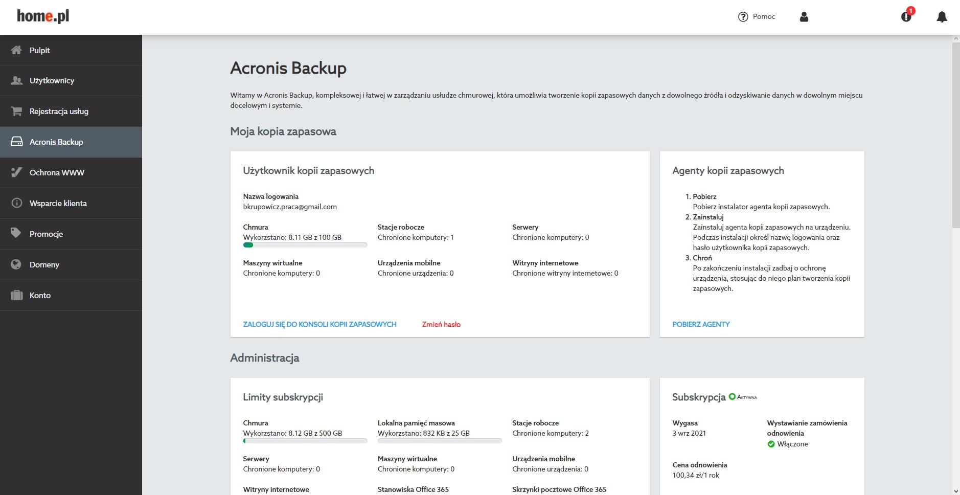 Acronis Backup – panel zarządzania usługą i kontem