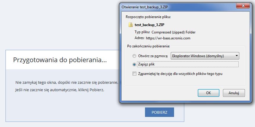Acronis Backup - Nazwa użytkownika - Nazwa komputera - Panel konfiguracji - Odzyskiwanie - Odzyskaj pliki - Folder planu - Zasoby - Potwierdź operację pobierania przyciskiem OK lub Pobierz