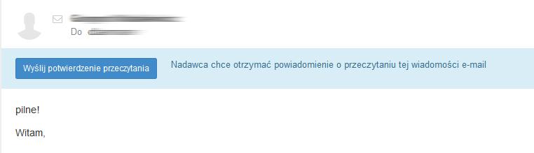Poczta home.pl - Wiadomość e-mail - Kliknij przycisk Wyślij potwierdzenie przeczytania, aby nadawca otrzymał powiadomienie o przeczytaniu tej wiadomości